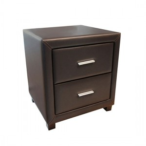 Dorset Faux Leather 2 Drawers Bedside Cabinet In Brown