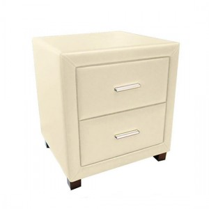 Dorset Faux Leather 2 Drawers Bedside Cabinet In Cream