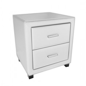 Dorset Faux Leather 2 Drawers Bedside Cabinet In White