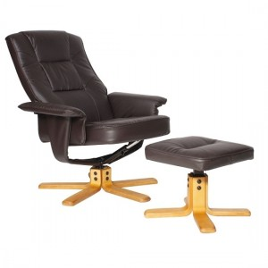 Drake Faux Leather Reclining Chair In Brown With Footstool