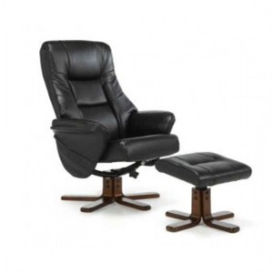 Drammen Leather Swivel Massage Recliner Chair In Black