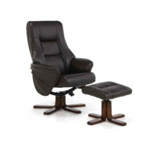 Drammen Leather Swivel Massage Recliner Chair In Brown