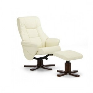 Drammen Leather Swivel Massage Recliner Chair In Cream