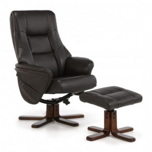 Drammen Leather Swivel Recliner Chair In Brown