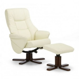 Drammen Leather Swivel Recliner Chair In Cream