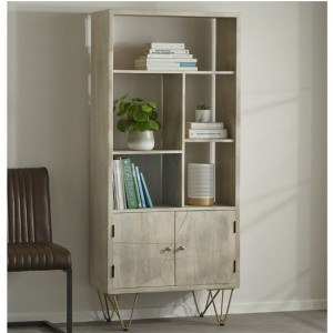 Dreka Large Wooden 2 Doors Bookcase In Light Gold