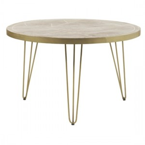 Dreka Round Wooden Dining Table In Light Gold