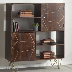 Dreka Wooden Display Cabinet In Dark Gold With 2 Doors And 2 Shelves