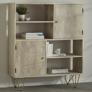 Dreka Wooden Display Cabinet In Light Gold With 2 Doors And 2 Shelves