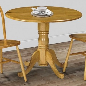 Dundee Round Wooden Dining Table In Honey Oak
