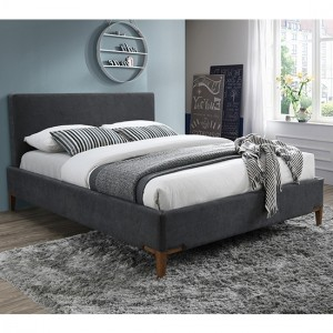 Durban Fabric Upholstered Double Bed In Dark Grey