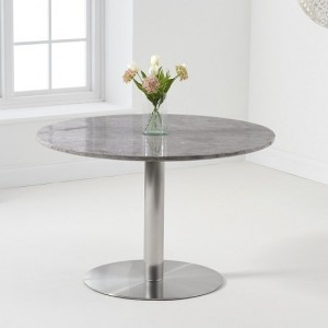 Belgrave Round Marble Table In Grey Gloss With Metal Base
