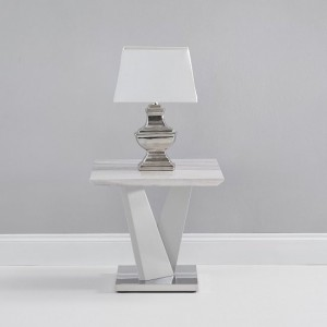 Kelsey High Gloss Marble Effect Lamp Table In Light Grey