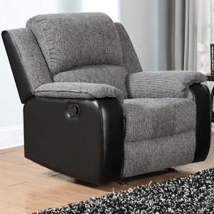 Earlsden Fabric And PU Leather Recliner 1 Seater Sofa In Grey And Black