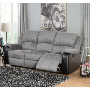Earlsden Grey Fabric And Black PU Recliner 3 Seater Sofa