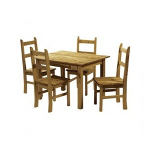 Ecuador Wooden Dining Set In Waxed Mexican Pine With 4 Chairs