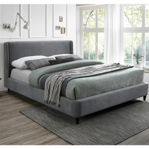 Edburgh Fabric Upholstered Double Bed In Light Grey