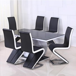 Edenhall Black Glass Top Wooden Dining Set In White High Gloss With 4 Chairs