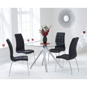 Kaplan Glass Dining Table In Clear With 4 California Black Chairs