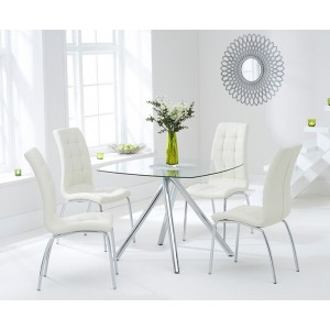 Kaplan Glass Dining Table In Clear With 4 California Cream Chairs