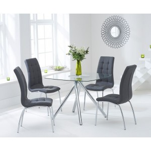 Kaplan Glass Dining Table In Clear With 4 California Grey Chairs