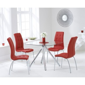 Kaplan Glass Dining Table In Clear With 4 California Red Chairs
