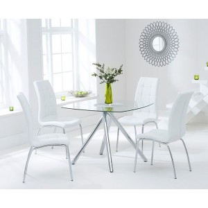 Kaplan Glass Dining Table In Clear With 4 California White Chairs