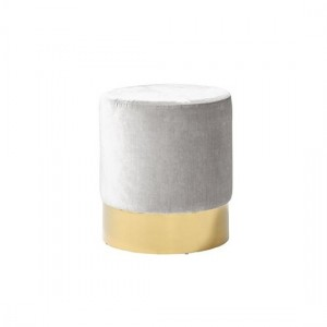 Elle Grey Velvet Stool With Gold Plated Stainless Steel Base