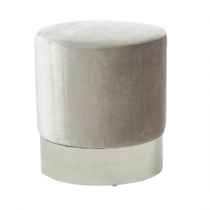 Elle Grey Velvet Stool With Polished Stainless Steel Base