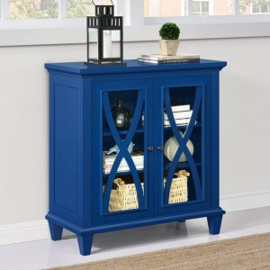 Ellington Wooden Display Cabinet In Blue With 2 Doors