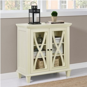 Ellington Wooden Display Cabinet In Ivory With 2 Doors