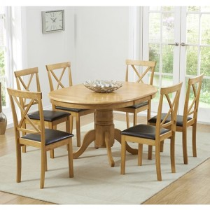 Elstree Extending Oak And Cream Dining Table With 6 Chairs