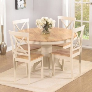 Elstree Round 120cm Dining Set With 4 Chairs In Oak And Cream