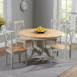 Elstree Round 120cm Dining Set With 4 Chairs In Oak And Grey