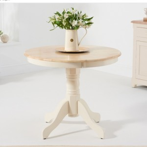 Elstree Round Wooden Dining Table In Oak And Cream
