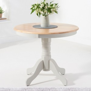 Elstree Round Wooden Dining Table In Oak And Grey