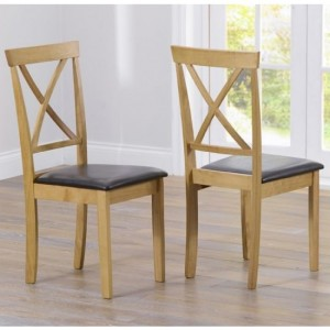 Elstree Wooden Dining Chairs With Dark Brown Leather Seat In Pair