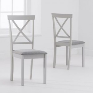 Elstree X Back Grey Fabric Padded Dining Chairs In Pair