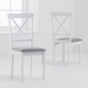 Elstree X Back White And Grey Fabric Padded Dining Chairs In Pair