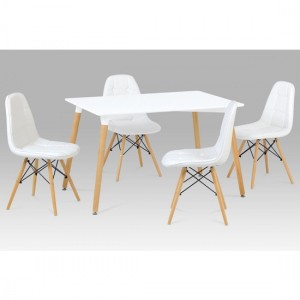 Emery Wooden Dining Set In White With 4 Chairs