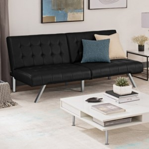 Emily Clic Clac Faux Leather Sofa Bed In Black