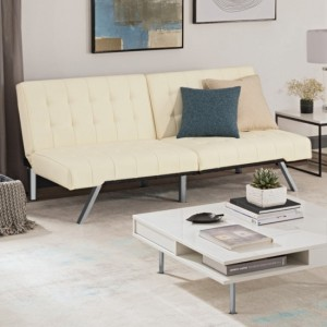 Emily Clic Clac Faux Leather Sofa Bed In Vanilla
