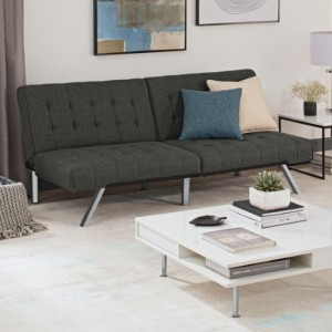 Emily Clic Clac Linen Fabric Sofa Bed In Grey