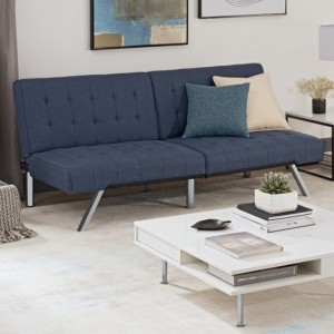 Emily Clic Clac Linen Fabric Sofa Bed In Navy Blue