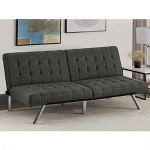 Emily Convertable Clic Clac Linen Fabric Sofa Bed In Grey