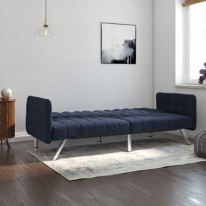 Emily Convertable Clic Clac Linen Fabric Sofa Bed In Navy Blue
