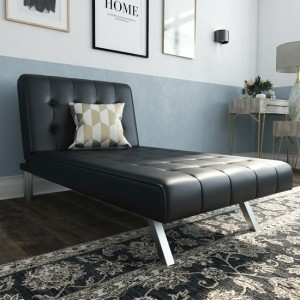 Emily Faux Leather Single Chaise Sofa Bed In Black