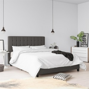 Emily Linen Fabric Upholstered Double Bed In Grey