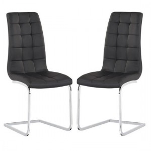 Enzo Black Faux Leather Dining Chair In Pair