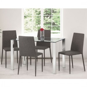 Enzo Clear Glass Dining Table With 4 Jazz Grey Chairs